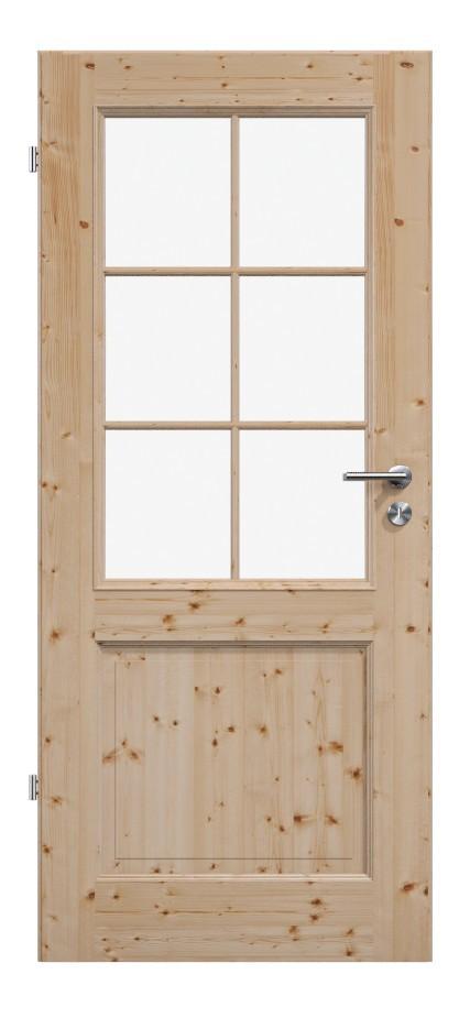 Elegante Massivholztür, Massivholztür, Holztüren, Fichte weiss, Glas, Lichtausschnitt, Sprossen, Sprossenrahmen