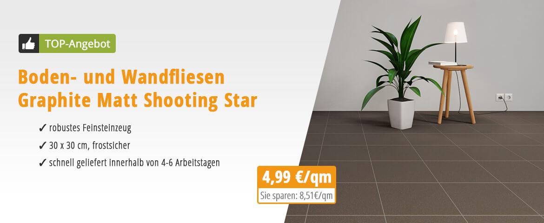 Boden- und Wandfliesen Graphite Matt Shooting Star 30,5 x 30,5 cm Feinsteinzeug - Interio