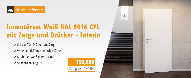 Innentür-Set Weiß RAL 9016 CPL mit Zarge und Drücker