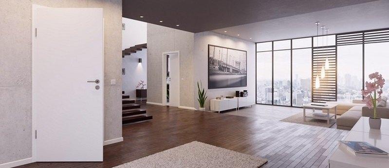 Weißlack Innentür in moderner Wohnung
