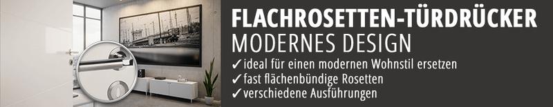 Flachrosetten-Türdrücker, Türklinke, flächenbündige Türdrücker-Garnitur, modern, hochwertig, Markenqualität