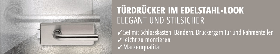 Glastür-Drücker im Edelstahl-Look, Glastürbeschlag, hochwertig, Markenqualität, Beschlagset aus Drücker, Schlosskasten und Bänder