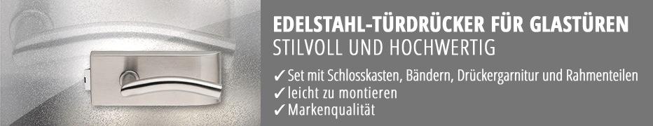 Edelstahl-Türdrücker für Glastüren, Glastür-Drücker, Glastürbeschlag, hochwertig, Markenqualität