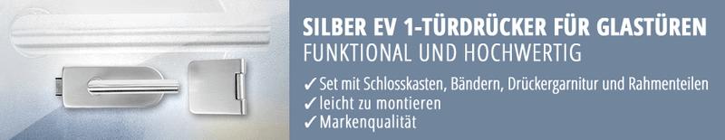 Türdrücker in Silber EV1 für Glastüren, Glastür-Drücker, Glastürbeschlag, hochwertig, leicht zu montieren