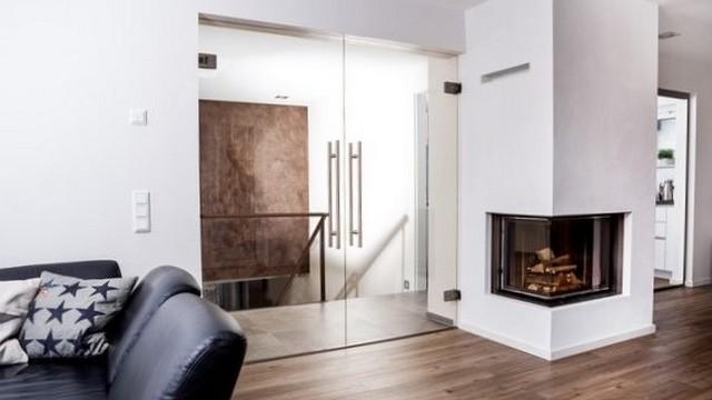Glastür Float klar als Doppelflügeltür von Erkelenz im Wohnzimmer