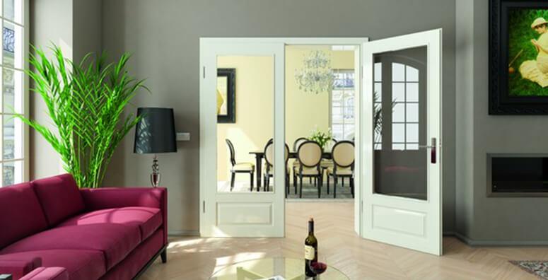 Wohnzimmer mit Doppelflügeltür Formelle M41 1LA von Lebo