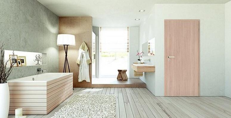 Badezimmer mit PortaLit Schallschutztür Typ 2211 von Westag & Getalit