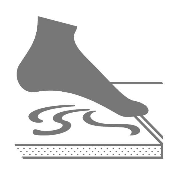 Icon Fuß wird auf eine Fliese aufgesetzt